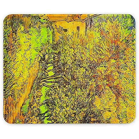Van Gogh - The Garden Of The Clinic Of Saint-Remy, Pelle Mouse Pad Tappetino per Mouse Mouse Mat con Immagine Colorato Antiscivolo in Gomma di Base compatibile con Apple Magic Mouse. Ideale per Giocare 250 x 190mm.