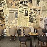 Papiers Peints Photo Papier Peint Europe Amérique Vieux Journal Bar Fond Mur Bar Café-Restaurant Murale Papier Peint De Haute Qualité