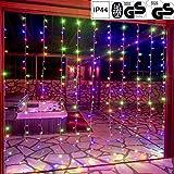 VOLTRONIC LED Lichtervorhang Lichterkette für innen und außen, erhältlich in: 3x3m (300LED) / 3x6m (600LED), warmweiß/kaltweiß/bunt, GS...