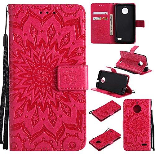 Guran PU Leder Tasche Etui für Motorola MOTO E4 Smartphone Flip Cover Stand Hülle und Karte Slot Case-rote