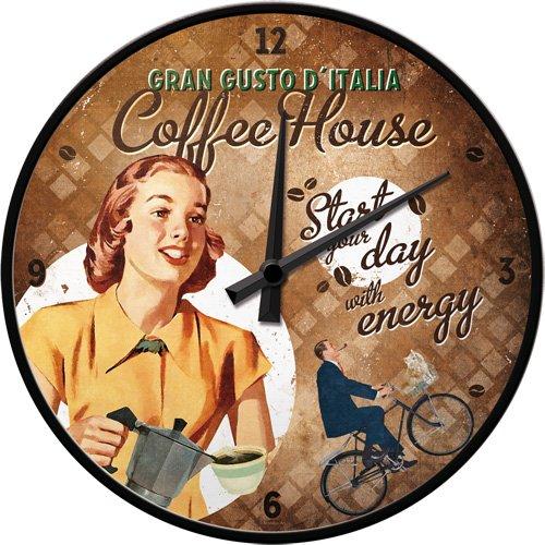 Nostalgic-Art 51059 Coffee und Chocolate House Lady, Wanduhr, 31 cm - Cappuccino Küchenuhr