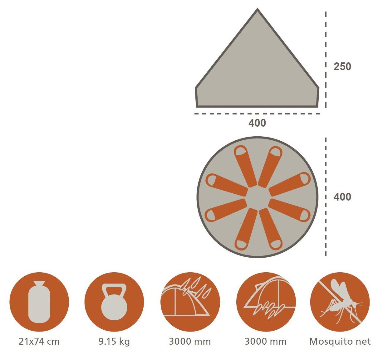 GRAND CANYON Indiana - round tent ( 8-person tent), beige, 602020 2