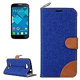 Case For Android Phone Protege tu teléfono, Denim Textura Funda de Cuero con Ranuras para Tarjetas y Soporte y Cinta para Alcatel One Touch Pop C7 (Color : Azul Oscuro)