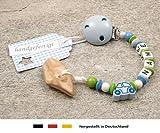 Veilchenwurzel an Schnullerkette mit Namen | natürliche Zahnungshilfe Beißring für Babys | Schnullerhalter mit Wunschnamen - Jungen Motiv Auto in blau