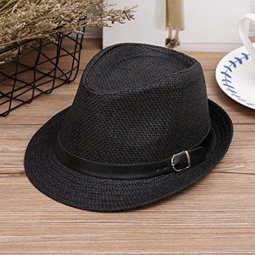 Imagen de zarlle sombrero de jazz británico sombrero de paja de sombra de playa transpirable al aire libre ocasional de los hombres de las mujeres se divierte la  de béisbol talla única, black  alternativa