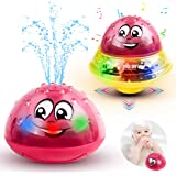 aovowog Bath Toys,Water Spray Toys for Kids Toddlers,2 in 1 Electric Induction Whale Sprinkler Baby Bath Fun Toys,Bathtime Ball Toys with Flashing Light and Music for Infant Boys and Girls