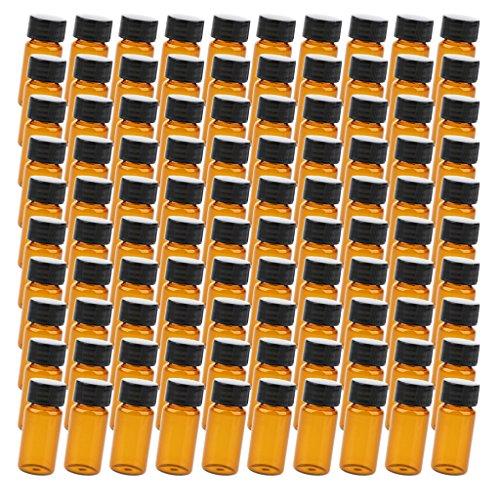 Preisvergleich Produktbild D DOLITY 100x Flüssigkeit Probenahme Glasflaschen Probenflaschen mit Verschlusskappe Kapazität 10ml / 15ml / 20ml für Aceton Rauch Alkohol Säurelösung -Klar - Braun 10ml