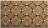 Onlymat Natural Coir Retro Circles Doormat, Multicolour, 60 x 90 cm