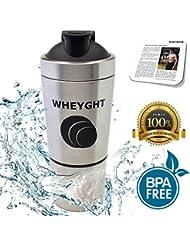 Premium wheyght Inox Shaker & # x2605–Métal Mug avec shaker Balle et passoire intégrée & # x2605; 1compartiment supplémentaire pour Supplements de tous les Art & # x2605–Capacité 600ml