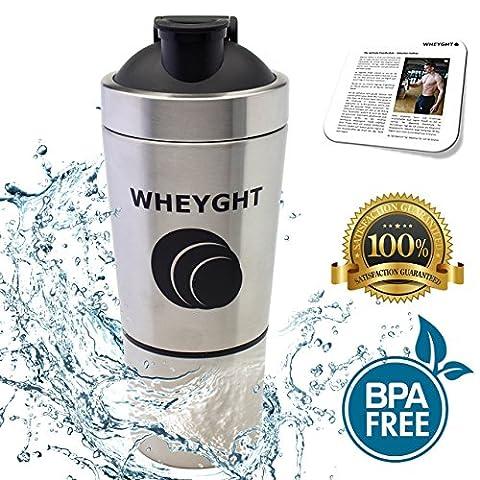 New Generation Premium WHEYGHT® Edelstahl Shaker - Metall Becher mit