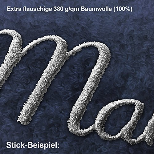 Bademantel mit Namen Ned bestickt - Initialien und Name als Monogramm-Stick - Größe wählen Navy