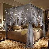 Verdicken verschlüsselung moskitonetz,1.5m 1.8m 2m bett court netze Doppelte vorhänge netting prinzessin wind Europäischen kleinen luxus quadrat netting-vorhänge-B Queen1