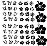 Autoaufkleber oder Wandtattoo Hibiskus Blumen und Schmetterling Set 52 Teilig in verschiedenen Farben (Schwarz Matt wandtattoo)