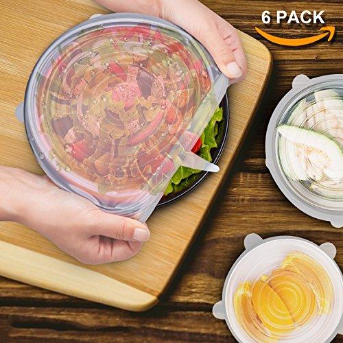 Six-Qu 6-Pack in Verschiedenen Größen Silikon-Stretch-Deckel für Schüssel, Dose, Glas, Glaswaren, Food Saver Covers Sicher in der Spülmaschine, Mikrowelle und Gefrierschrank, Transparent, 1