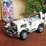 Ornamentesd Modell Cabrio Sportwagen Retro Bügeleisen Spielzeug altes Auto 1221 Weiß 20*10*9 cm