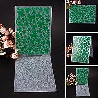 Zhuotop Grün Kleearten Muster Kunststoff Prägeschablonen Prägeordner für Heimwerker Karte machen und Dekoration Zubehör