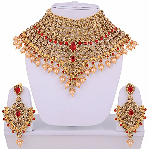 Lucky Jewellery Ethnic LCT Red Partywear Jewelry Pearl & Stone Mini Bridal Choker Necklace Set