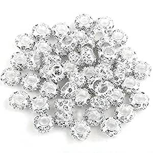 50 PERLINE PERLE PLACCATO ARGENTO CHARMS STILE 11x5mm