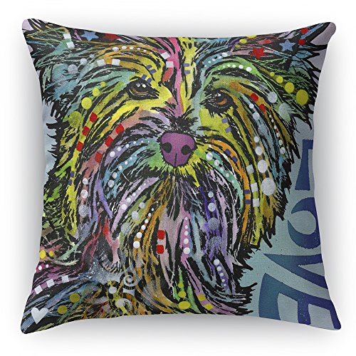 46 x 46 cm Faux Suede Pillow and Pillow Case Dean Russo Yorkie Luv