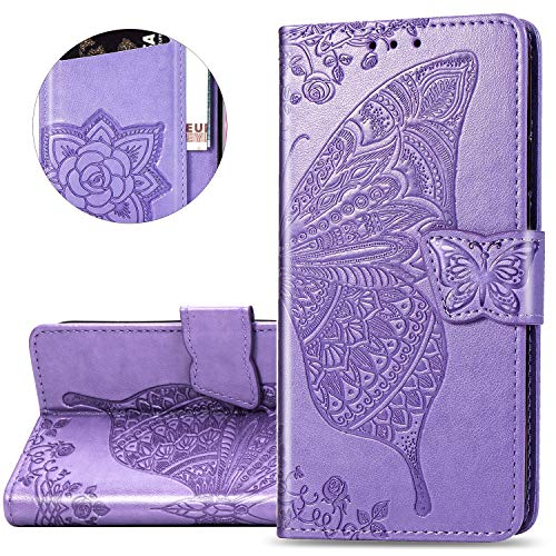 HMTECH Huawei P30 Pro Hülle,Huawei P30 Pro Handyhülle Prägung Schmetterling Blumen Flip Case PU Leder Cover Magnet Schutzhülle Tasche Ständer Handytasche für Huawei P30 Pro,SD Butterfly Light Purple