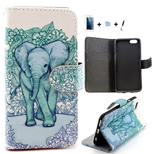 TIODIO® 4 en 1 Skin Coque en PU Cuir Portefeuille Housse de Protection à rabat Case Etui Pour Apple iPhone 6S Plus/iPhone 6 Plus, Stylus et Film protecteur inclus, A01 A02