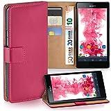 moex Sony Xperia Z | Hülle Pink mit Karten-Fach 360° Book Klapp-Hülle Handytasche Kunst-Leder Handyhülle für Sony Xperia Z Case Flip Cover Schutzhülle Tasche
