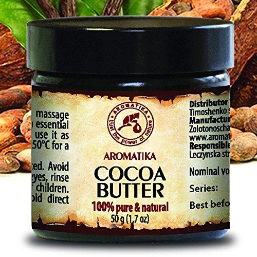 Cocoa Butter - Kakao butter Unraffiniert - Native Rein und Natürlich 100g Glas - Südafrika, Kakaobutter für Lippenpflege, Stretch Marks, Haare - Körperbutter von AROMATIKA (Reine Kakao)