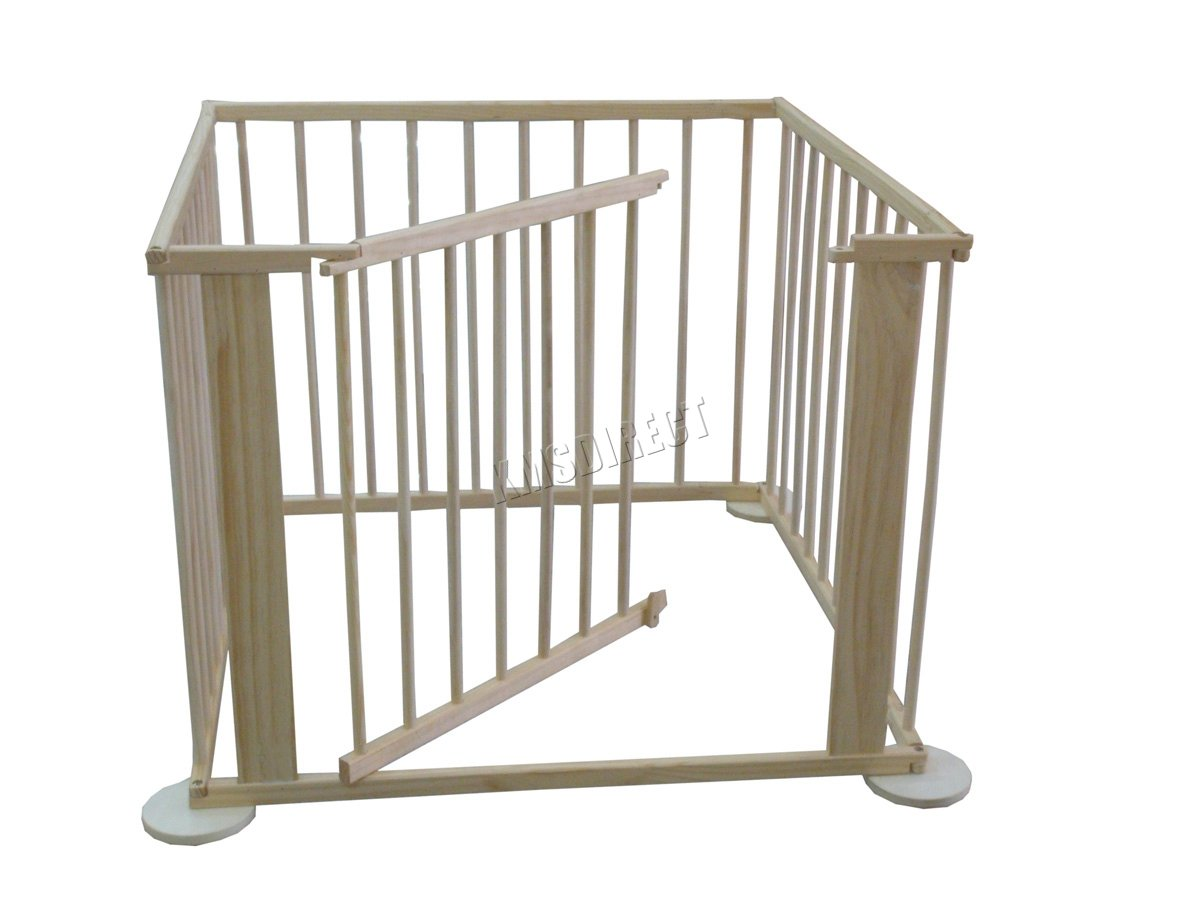 WestWood Portable Baby Child Children Foldable Playpen Play Pen Room Divider Wood Wooden 4 Side Panel Heavy Duty New WestWood High quality baby play pen with door; Can be used as a room divider (all brackets and screws provided); Feet have a rubber base to prevent scratched floors; 3