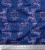 Soimoi Blau Baumwolle Ente Stoff Geometrisch & Paisley Damast Stoff drucken Meter 58 Zoll breit