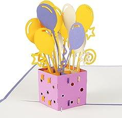 """3D Geburtstagskarte """"Geschenk mit Luftballons"""", Karte zum Geburtstag, Geburtstagsgeschenk für Frauen, für Männer, Geschenkkarte, kreativ, handgefertigt, mit Umschlag und mit Folie, Pop Up Karte"""
