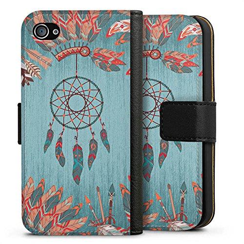 Apple iPhone X Silikon Hülle Case Schutzhülle Traumfänger Indianer Federn Sideflip Tasche schwarz