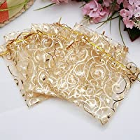 Brussels08 25 Pcs Floral Pattern Printed Drawstring Organza Bags Party Favor Candy Gift Bag Mesh Jewelry Pouches for Weddings, Showers, Birthdays, Holidays, Collectibles Golden