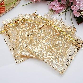 FanSi 25pcs Sachets Pochettes Cadeau en Organza pour Bijoux Cadeaux Bonbons Marriage