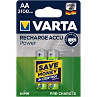 VARTA Rechargeable Accu Power vorgeladener AA Mignon Ni-Mh Akku (2er Pack. 2100 mAh) , wiederaufladbar ohne Memory…