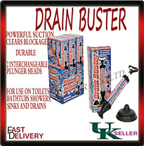 DRAIN BUSTER PLUNGER TOILET SINK CLOG SUCKER REMOVER