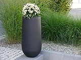 Blumenkübel SOTO Ø25x H55cm aus Fiberglas in schwarz-anthrazit, Pflanzkübel, Pflanztopf, Pflanzgefäße