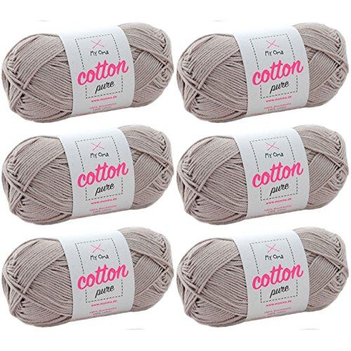 Baumwolle Garn *MyOma Cotton pure bast (Fb 0171)* Baumwolle zum Stricken und Häkeln + GRATIS Anleitung - 6 Knäuel Baumwolle beige / beiges Baumwollgarn 50g/125m - Nadelstärke 2,5-3,5mm - Baumwollgarn 3 Größe