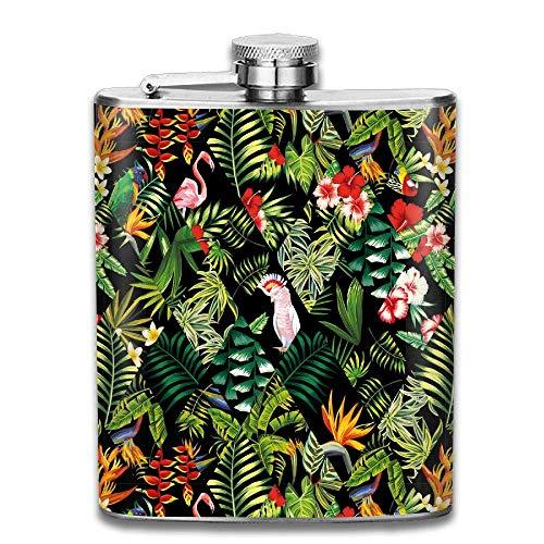 Hüftflaschen Presock, Banana Leaves Hibiscus Flower Lilies Plumeria Jungle Parrots Flamingos 304 Food Grade Stainless Steel Flask 7 Oz Best Birthday Gift Present for Women Men (Hibiscus Flower Vase)