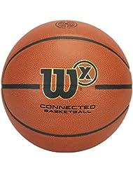 Wilson Ballon Basketball avec Capteur pour Enregistrement d'Entraînement par App, 4 Modes de Jeu, Wilson X Connected, Brun