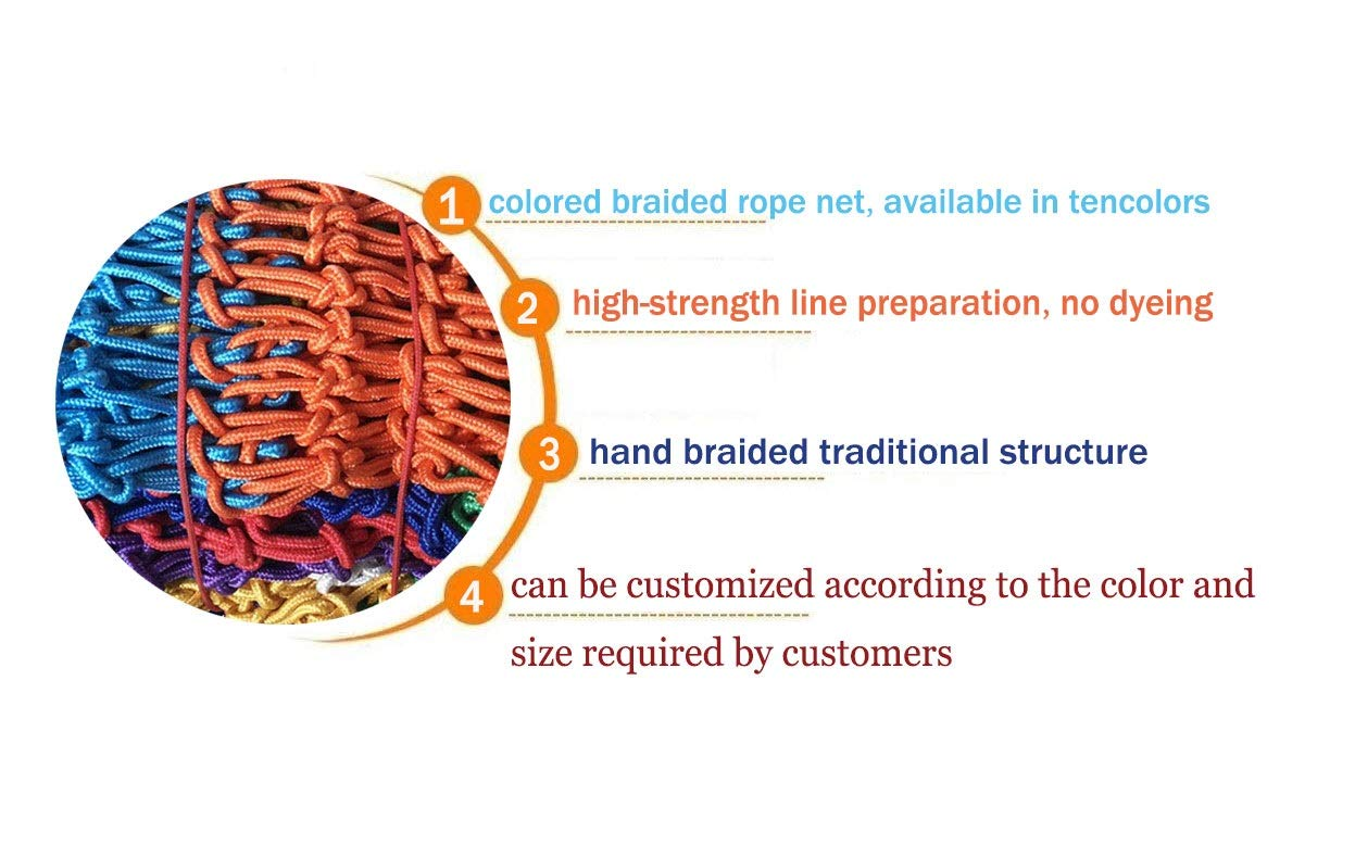WLnet Child Safety Anti-fall Net, Color Balcony Loft, Stair Railing Protection Net Hand-woven Traditional Structure Nylon Rope Net Mesh 10mm * 6cm (Size: 2 * 3m) (Size : 4 * 9M)  [Anti-fall net preferred material] select high quality nylon material, healthy and environmentally friendly, strong and tough, durable [Anti-fall net double buckle weaving] hand knotted, not easy to off the line, beautiful and strong, [Anti-fall net surrounding rope] has a separate side rope design on four sides, solid fixed, wear-resistant, stable support net 3