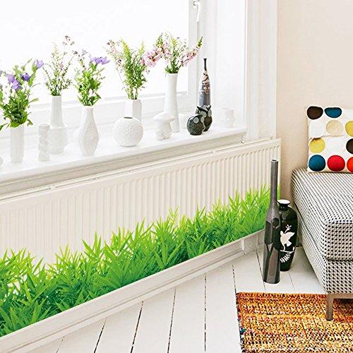 Zantec Wasserdichte Grüne Wiese Gras Wandaufkleber, Abnehmbare PVC Kunstwand Zimmer Wohnkultur