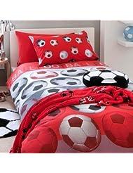 Catherine Lansfield Parure de lit pour enfant Motif football, Rouge, Double