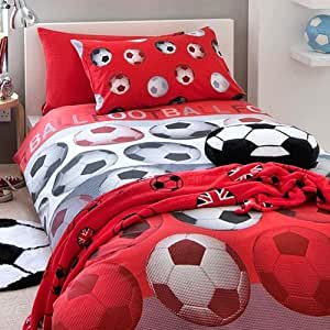 catherine lansfield parure de lit pour enfant motif football rouge double cuisine. Black Bedroom Furniture Sets. Home Design Ideas