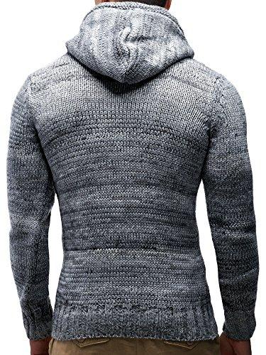 LEIF NELSON Herren Pullover Hoodie Kapuzenpullover Strickpullover Longsleeve Sweater Sweatshirt Pulli LN20227 Grau