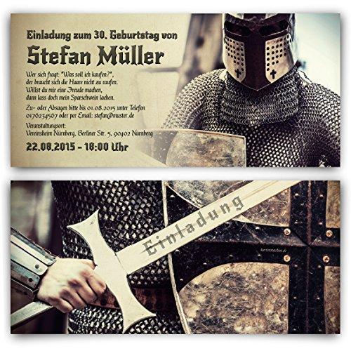 Einladungskarten zum Geburtstag (20 Stück) Ritter Mittelalter Rüstung Schwert Einladung