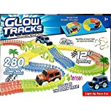 TEMSON Magic Race Tracks-Flexible and Bendable Glow in Dark Race Twister Track Set Toy with LED Lights Racing Car (280 Pcs)