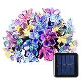lederTEK, Solar Lichterkette 6,4m 50 LED Pfirsichblüte Außenlichterkette Wasserdicht mit Lichtsensor Weihnachtsbeleuchtung, Beleuchtung für Haushalt, Außen, Garten, Hochzeit, Weihnachten (mehrfarbig)