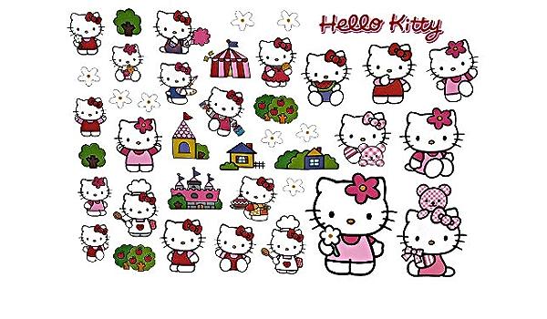 Alles Meine De Gmbh 40 Tlg Set Xl Wandtattoo Fensterbild Hello Kitty Katze Kind Kinder Mädchen Wandsticker Aufkleber Spielzeug