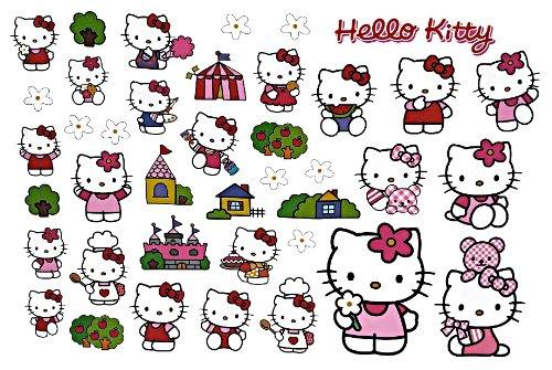 Unbekannt 40 TLG. Set XL Wandtattoo / Fensterbild Hello Kitty Katze - Kind Kinder Mädchen Wandsticker Aufkleber