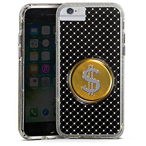 Apple iPhone 7 Bumper Hülle Bumper Case Glitzer Hülle Dollar Geld Punkte Bumper Case Glitzer gold